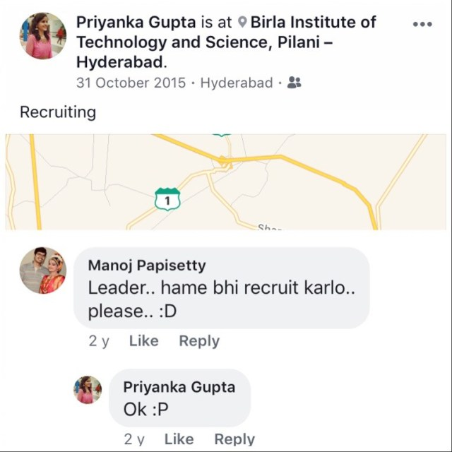 Butterfly Effect. My friend Priyanka Gupta about on-campus recruitment that she was conducting.