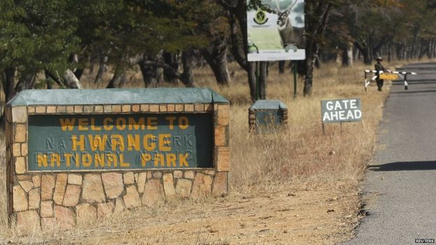 Entrance to Hwange National Park in Zibabwe, where the Cecil the lion statue is planned