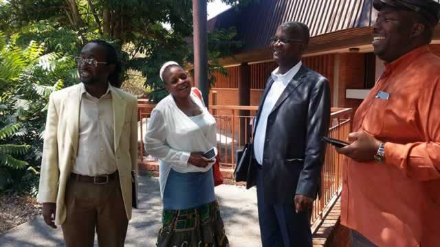 From left, Minister Patrick Zhuwao, Priscilla Misihairabwi-Mushonga, Professor Jonathan Moyo and Minister Saviour Kasukuwere during a break in lectures at the University of Zimbabwe