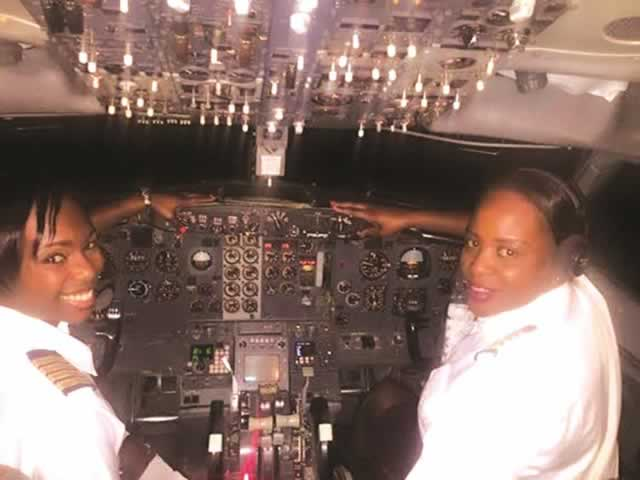 The two ladies touch down at Vic Falls Airport