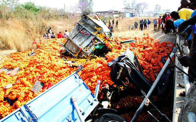 The driver of this haulage truck died on the spot on Saturday morning when the truck that was laden with oranges destined for Mbare market veered off the road and plunged into Mukuvisi River along Simon Mazorodze Road in Waterfalls. — (Picture by John Manzongo)