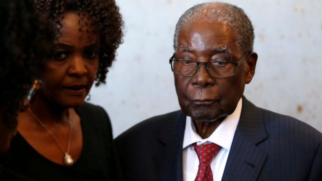 Former President Robert Mugabe with his wife Grace Mugabe