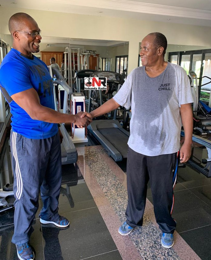 Personal trainer Kenny Murungweni and Gideon Gono