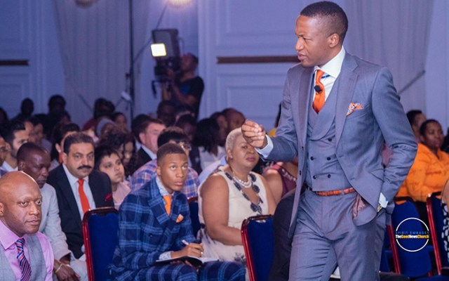 Like father like son: Uebert Angel Junior watching his father in action