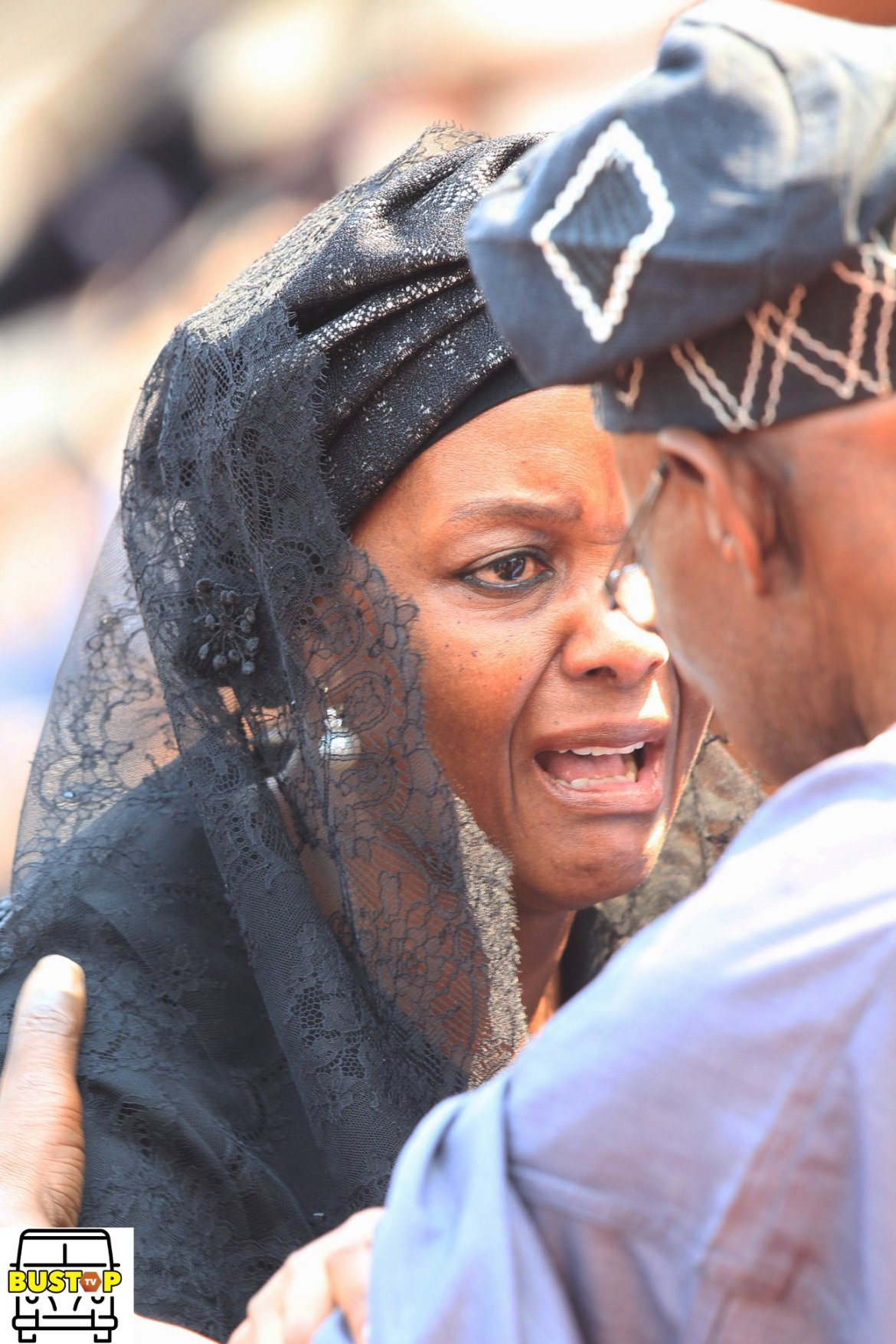 Grace Mugabe mourns her husband (Picture by Bustop TV)