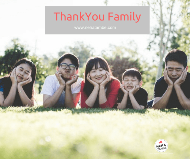 A Thankyou Note to family