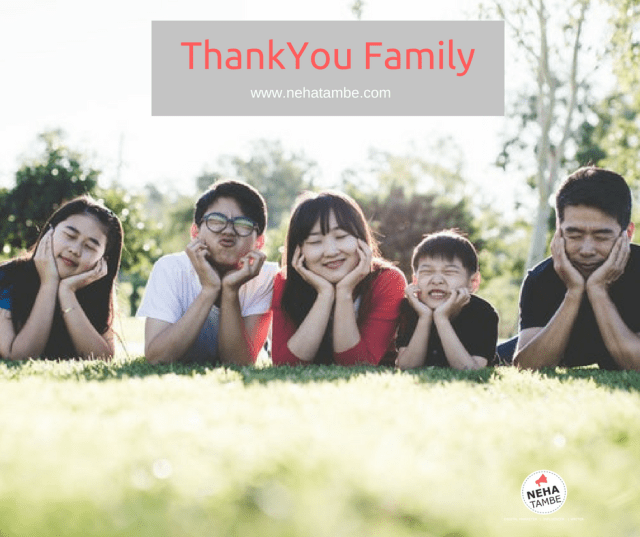 A Thankyou Note to family