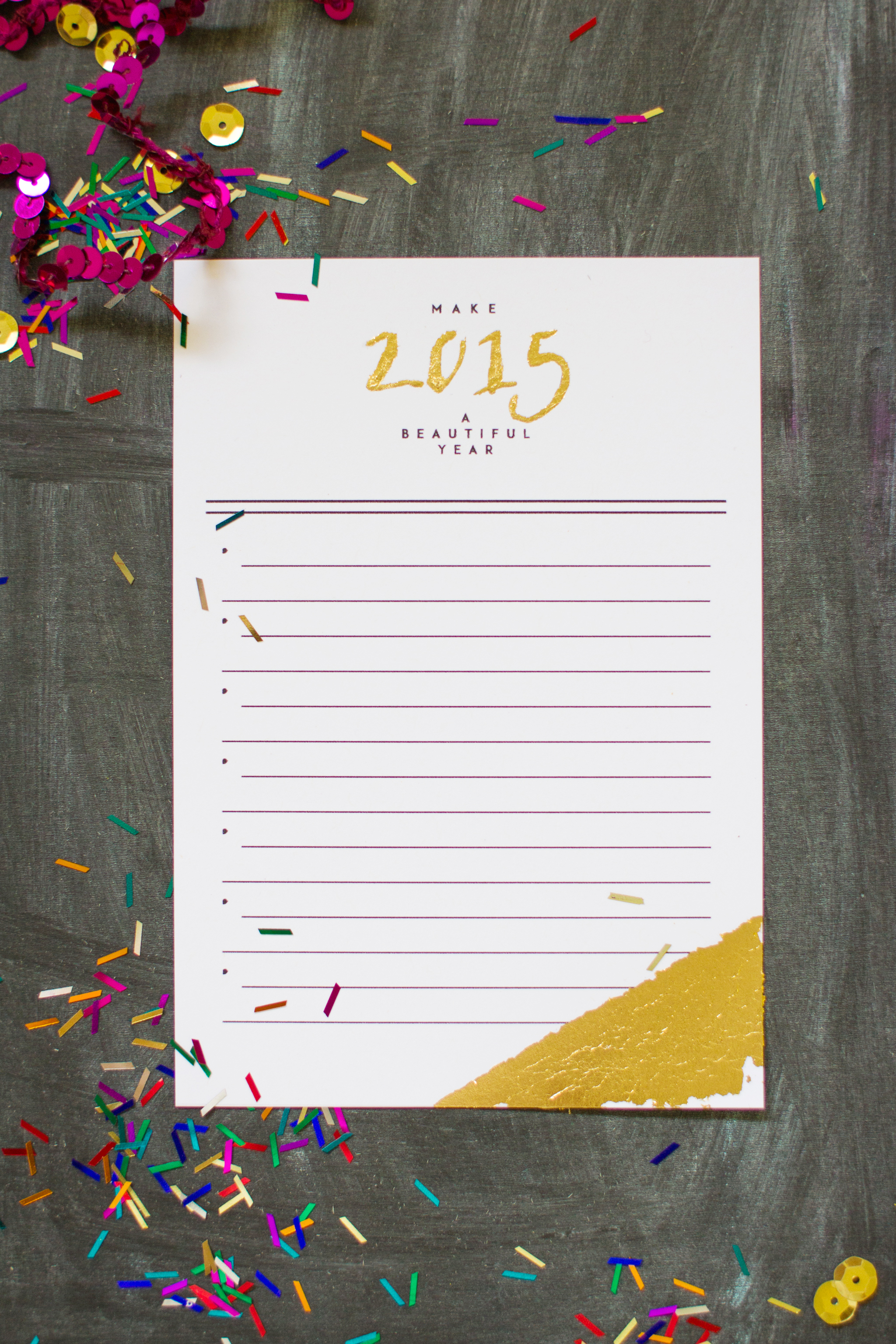 Printable New Year S Resolution Card