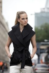 Hudson Vest: Double-layered rain wrap vest with double-layered adjustable collar.