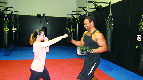 Kickboxing at Franklin Athletic Club with trainer George Jones.