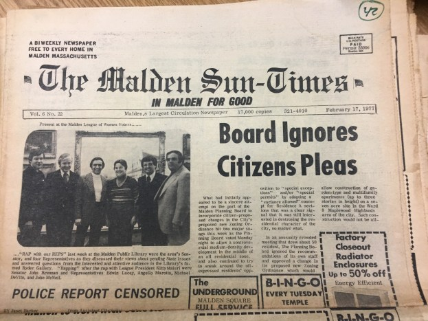 In 1977, issues of residents being ignored by City Council on zoning issues was a huge contention.