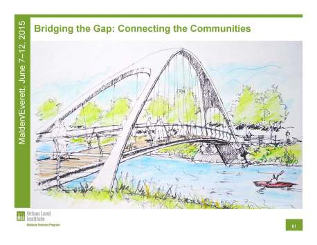 A ULI graphic depicting a potential pedestrian bridge connecting Malden and Everett by River's Edge.
