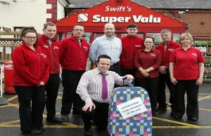 Pictured with manager Darren is store owner Stephen Swift and staff at SuperValu Lisnaskea