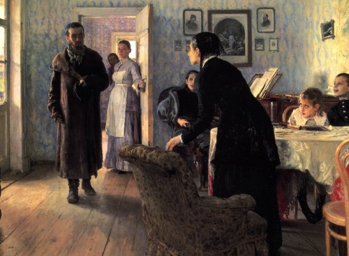Painting by Ilya Repin, Unexpected Visitors, 1888