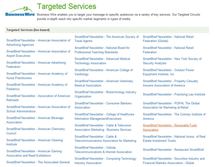 example of business wire targeted services for press releases