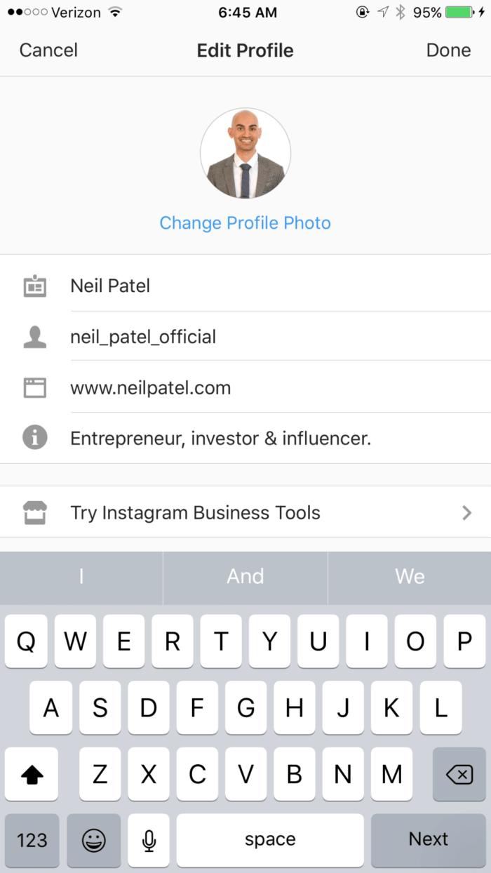 perfil do instagram instagram - image18 10 min 700x1244 - Como Conseguir Seguidores no Instagram (Mais de 300 Seguidores Reais Por Dia!)