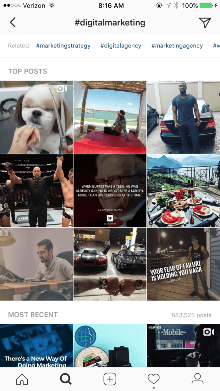 principais postagens hashtag digital marketing instagram - image24 1 min 700x1244 - Como Conseguir Seguidores no Instagram (Mais de 300 Seguidores Reais Por Dia!)