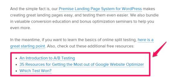 improve google rakings - example of links