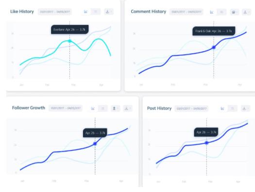 Instagram analytics tool overview graphs