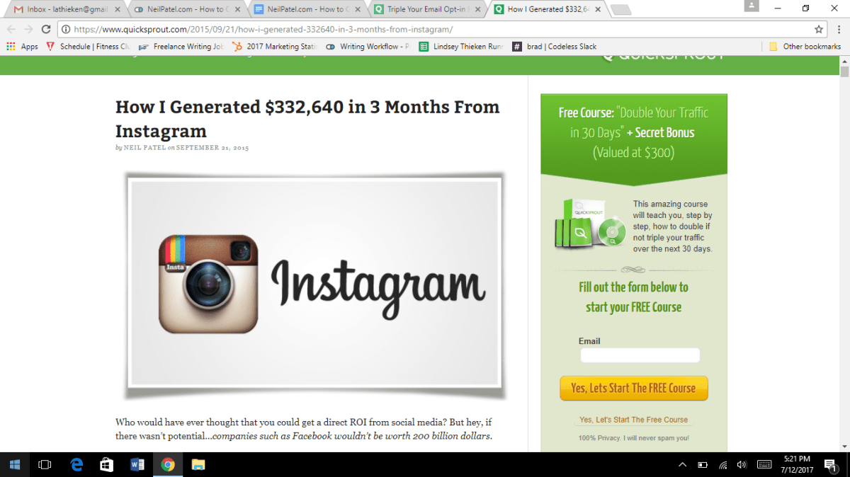 how I generated money from instagram lead magnet example