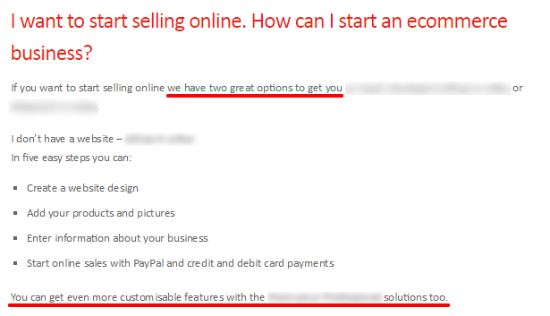Ecommerce FAQ example Guide to increase website credibility