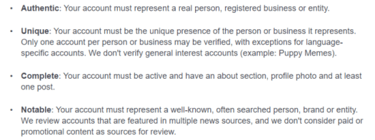 get verified on social media facebook requirements