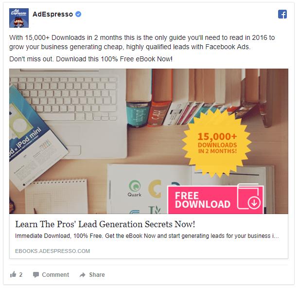 adespresso lead magent ad retargeting on facebook