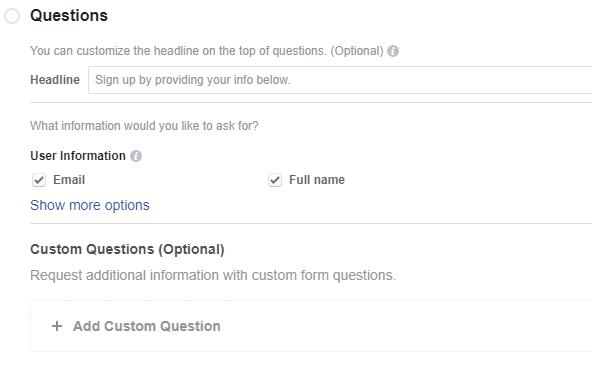 Facebook questions for lead gen ad retargeting