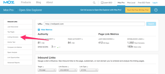 Arc and Open Site Explorer Link Research Backlink Checker Moz 1