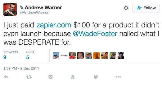 Warner Tweet About Zapier