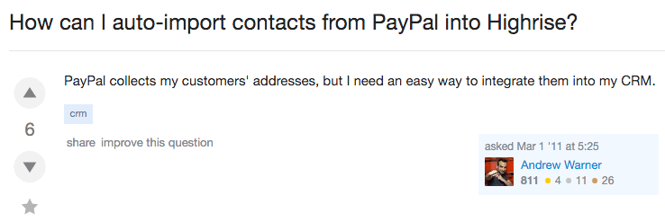 crm How can I auto import contacts from PayPal into Highrise Web Applications Stack Exchange