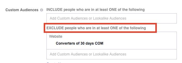 exclude custom audiences