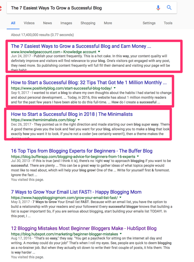 The 7 Easiest Ways To Grow a Successful Blog Google Search
