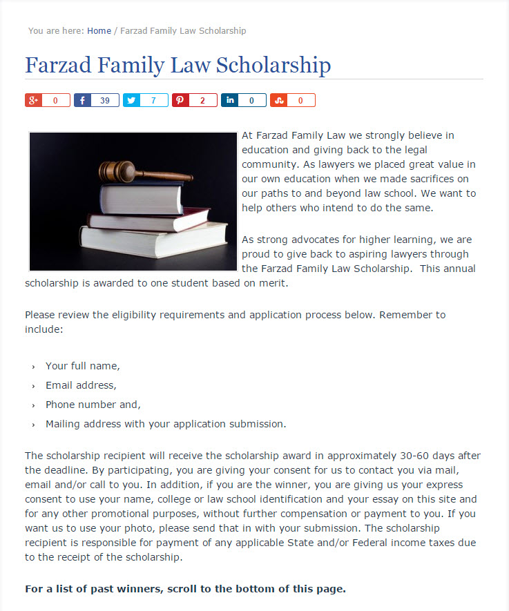create a scholarship page