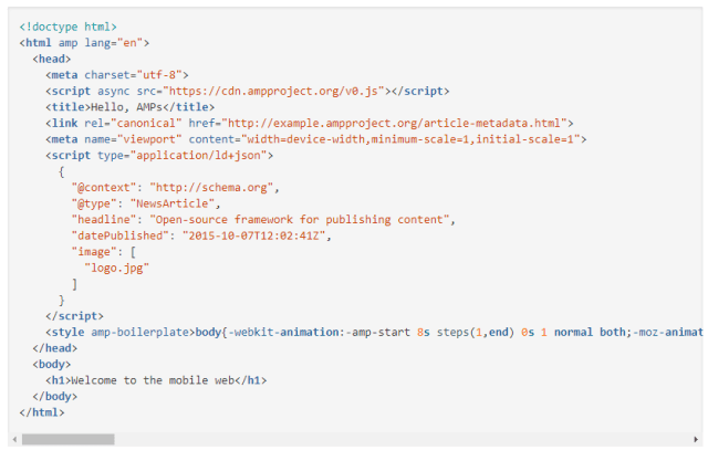 accelerated mobile pages boilerplate code