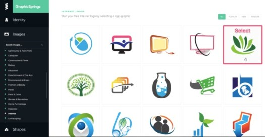 free logo selectoin on graphic spring