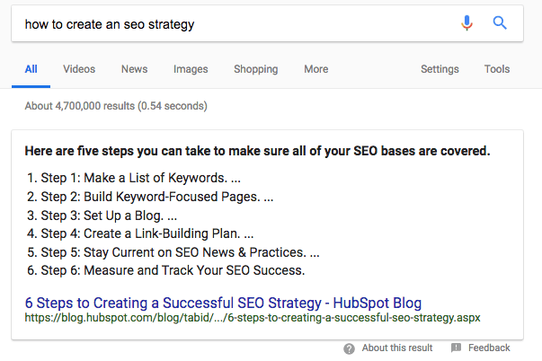 how to create an seo strategy Google Search