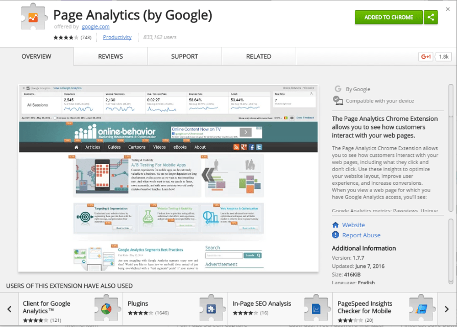 Page Analytics by Google