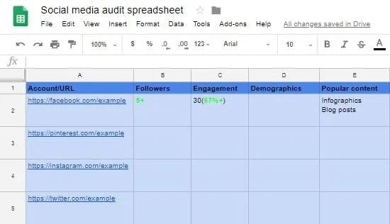 Updated spreadsheet social media audit