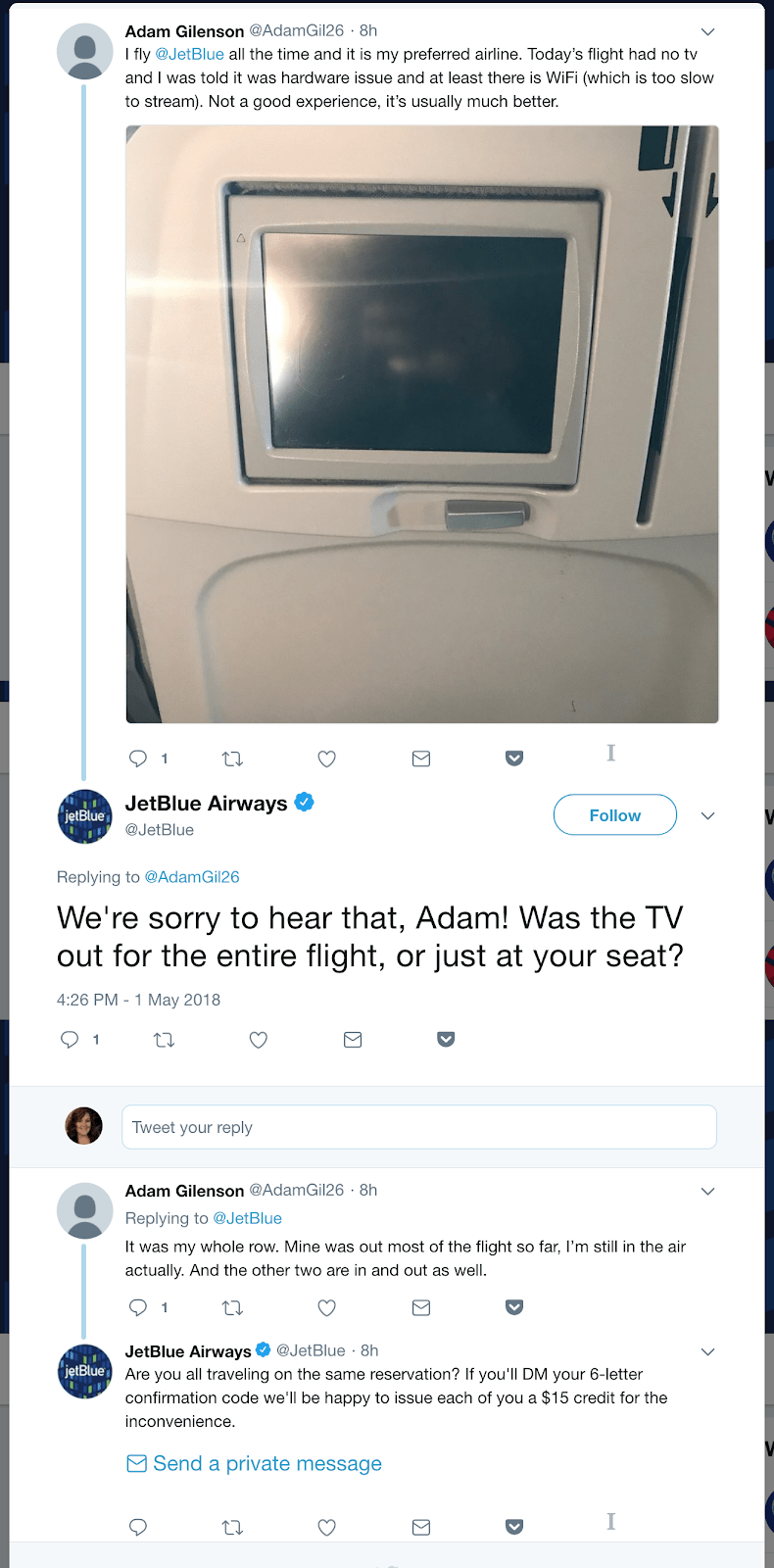 jetblue review interaction