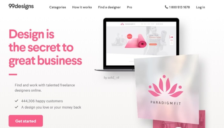 99designs homepage in 2018