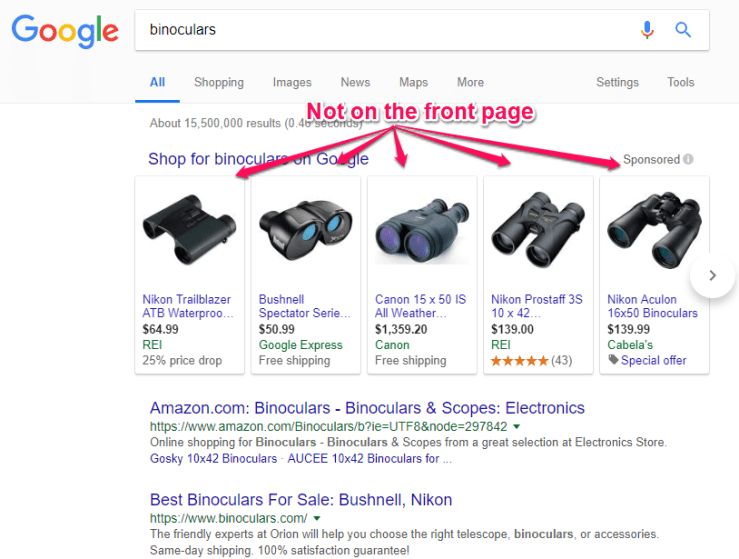 binoculars not on the front page
