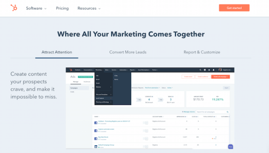E commerce automation Example of marketing content management options with HubSpot