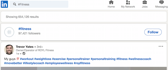 LinkedIn Top Hasthags LinkedIn option for following the fitness hashtag