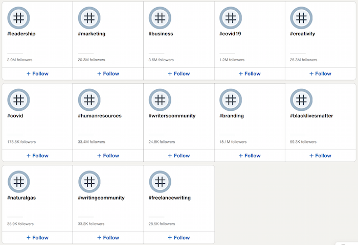 LinkedIn Top Hasthags screen of other hashtags LinkedIn recommends
