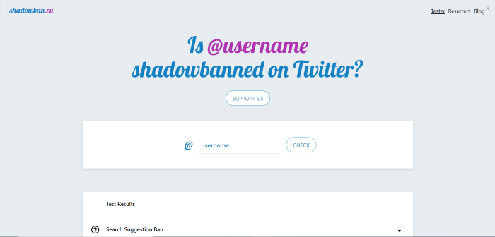 how to check if you are shadowbanned on Twitter
