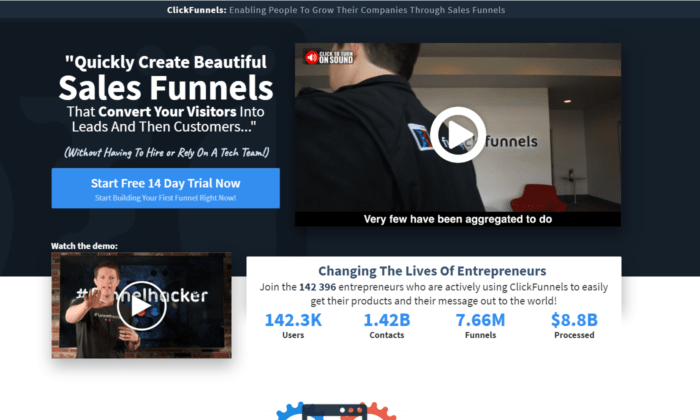 click funnels customer success stories landing page example.