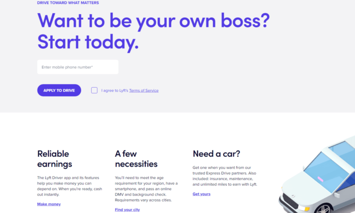lyft landing page examples
