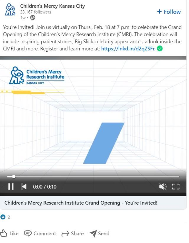 LinkedIn Advertising Ideas - Announce Industry Events, like Children's Mercy