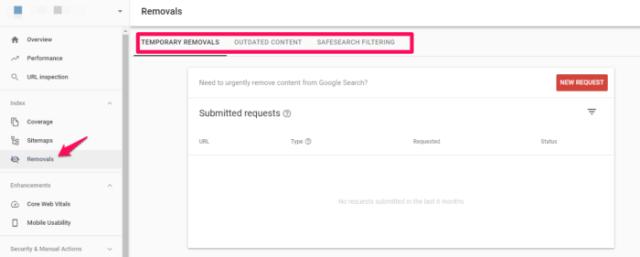 google search console URL removal